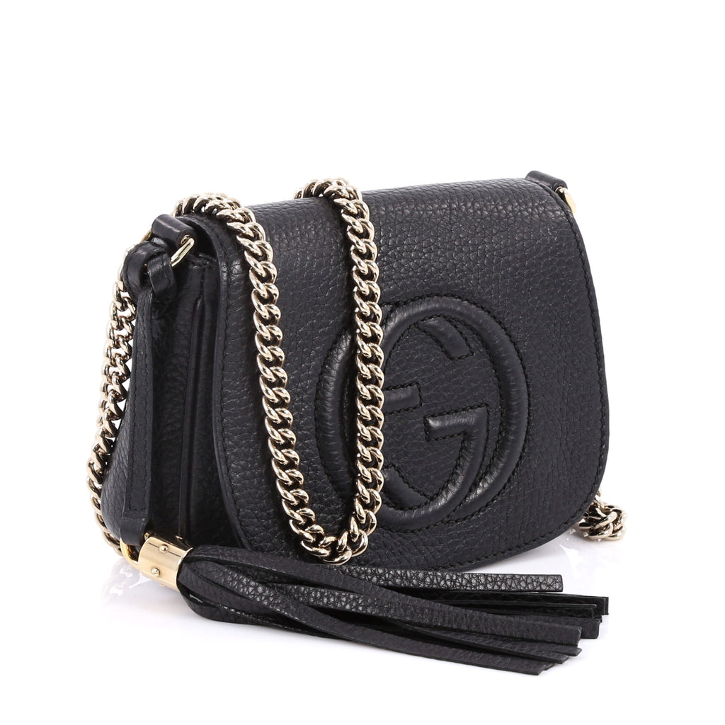 cd4556df53485f Buy Gucci Soho Chain Strap Crossbody Bag Leather Small Black 2187401 – Rebag