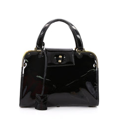 Saint Laurent Uptown Handbag Patent Small Black 2187501