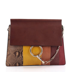 Chloe Faye Shoulder Bag Python with Leather Medium Brown 2188901
