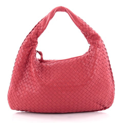 Bottega Veneta Veneta Hobo Intrecciato Nappa Medium Red