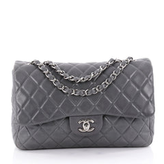 Chanel Classic Single Flap Bag Quilted Lambskin Jumbo Gray