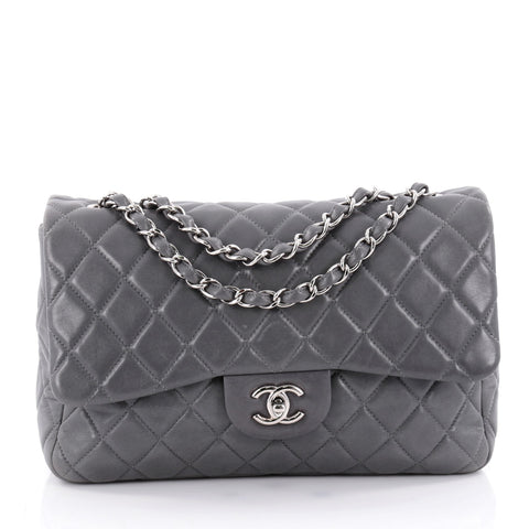 e23fc49cf14236 Buy Chanel Classic Single Flap Bag Quilted Lambskin Jumbo 2192001 – Rebag