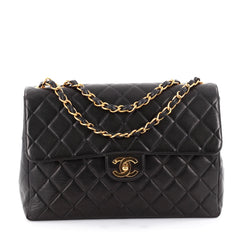 Chanel Vintage Classic Single Flap Bag Quilted Lambskin Jumbo Black