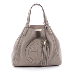 Gucci Soho Shoulder Bag Leather Medium Gray