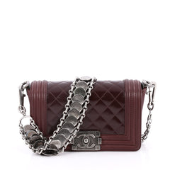 Chanel Medallion Boy Flap Bag Quilted Glazed Calfskin with Leather Small Red