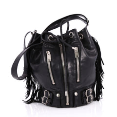 Saint Laurent Rider Bucket Bag Fringe Leather Large 2194702