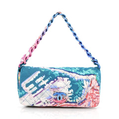 Chanel Watercolor Pochette Quilted Printed Canvas Small Blue