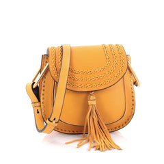 Chloe Hudson Handbag Whipstitch Leather Small Yellow