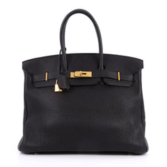 Hermes Birkin Handbag Black Togo with Gold Hardware 35 Black 2202101