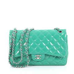 Chanel Classic Double Flap Bag Quilted Patent Jumbo Green