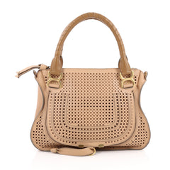 Chloe Marcie Satchel Perforated Leather Medium Neutral 2209602
