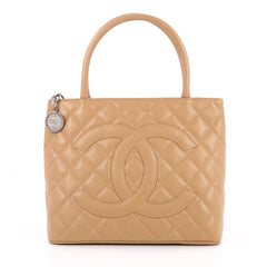 Chanel Medallion Tote Quilted Caviar Brown 2209901