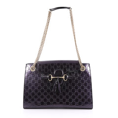 Gucci Emily Chain Flap Shoulder Bag Guccissima Patent Large Purple 2209903