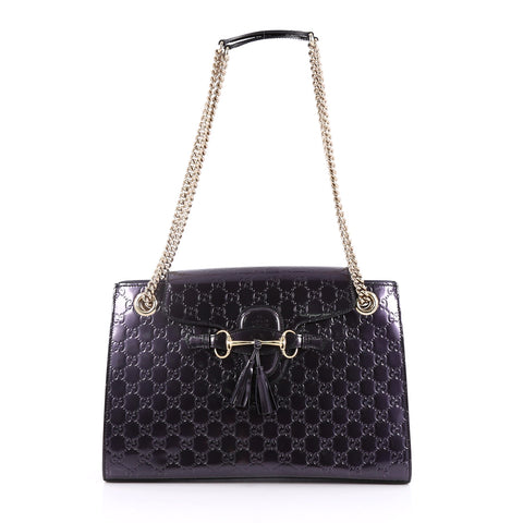 10d341b142b970 Buy Gucci Emily Chain Flap Shoulder Bag Guccissima Patent 2209903 – Rebag