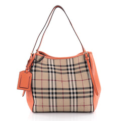 Burberry Canterbury Tote Horseferry Check Canvas and Leather Small Neutral 2210202