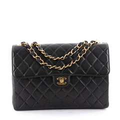 Chanel Vintage Classic Single Flap Bag Quilted Lambskin Jumbo Black 2210801