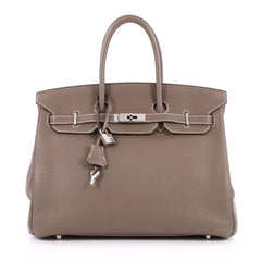 Hermes Birkin Handbag Brown Clemence with Palladium 2211801