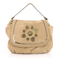 Gucci Irina Babouska Shoulder Bag Suede Neutral 2214301