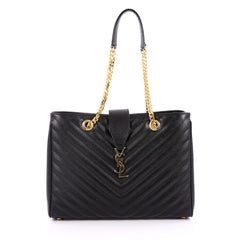 Saint Laurent Classic Monogram Shopper Matelasse Chevron Leather Large Black 2215201