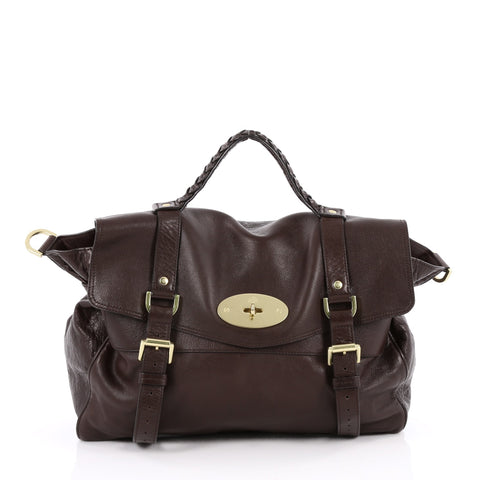1257cbc8d792 Buy Mulberry Alexa Satchel Soft Buffalo Oversized Brown 2217001 – Rebag