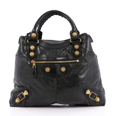 Balenciaga Brief Giant Studs Handbag Leather Black 2219502