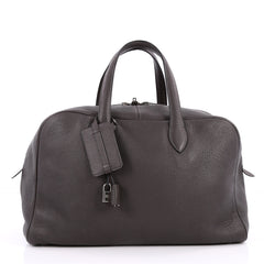 Hermes Victoria Travel Bag Clemence 43 Gray 2220507