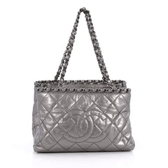 Chanel Chain Me Tote Quilted Calfskin Small Silver