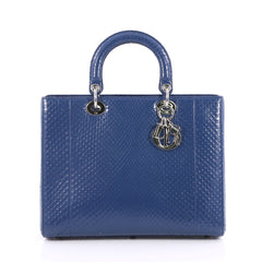 Christian Dior Lady Dior Handbag Python Large Blue 2225701