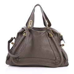 Chloe Paraty Top Handle Bag Leather Medium Gray 2227902