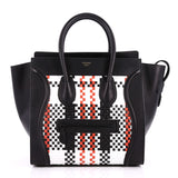 Celine Luggage Handbag Woven Leather Mini Black 2230501