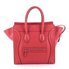 Celine Luggage Handbag Grainy Leather Mini Red 2231701