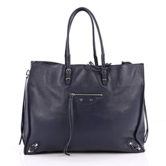 Balenciaga Papier A4 Zip Around Classic Studs Handbag Leather Large Blue 2232801
