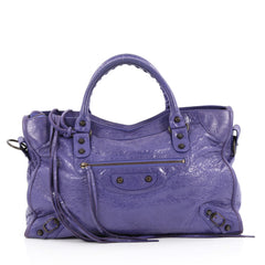 Balenciaga City Classic Studs Handbag Leather Medium Purple 2235003