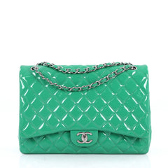 Chanel Classic Double Flap Bag Quilted Patent Maxi Green