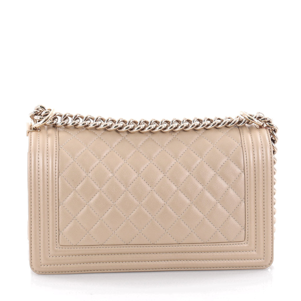 58020c321a3a Buy Chanel Boy Flap Bag Quilted Caviar Old Medium Neutral 2235901 ...