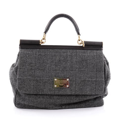Dolce & Gabbana Miss Sicily Handbag Wool Large Gray