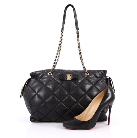 a8b280cb8eab Buy Salvatore Ferragamo Ginette Chain Shoulder Bag Quilted 2236501 ...