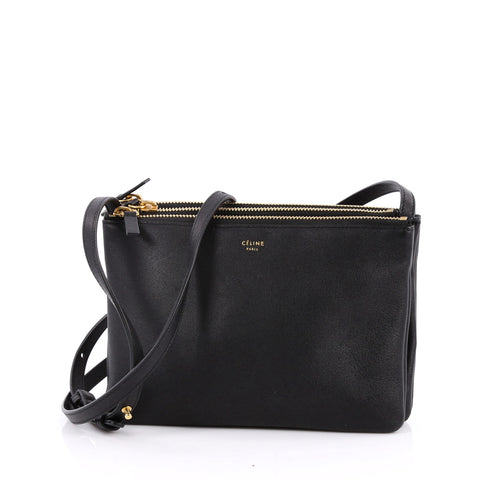 f698adfe9042 Buy Celine Trio Crossbody Bag Leather Small Black 2239101 – Rebag