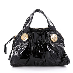 Gucci Hysteria Top Handle Bag Patent Leather Small Black 2242301