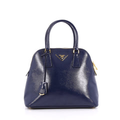 Prada Zip Around Convertible Dome Satchel Vernice Blue 2242601