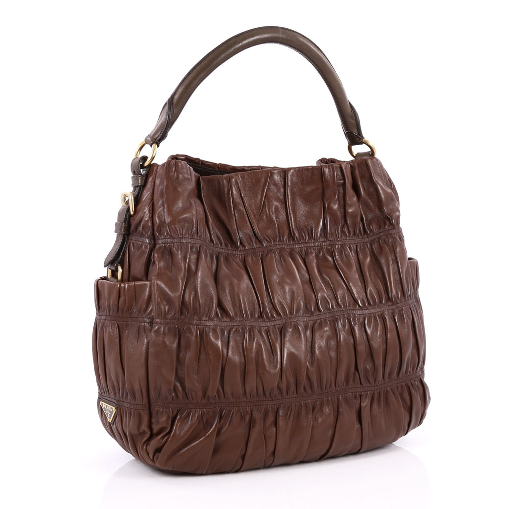 f3c2b8ffdf14 Buy Prada Gaufre Side Pocket Hobo Nappa Leather Large Brown 2244205 ...