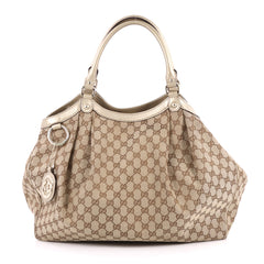 Gucci Sukey Tote GG Canvas Large Brown 2244701