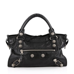 Balenciaga City Giant Studs Handbag Leather Medium Black 2246501