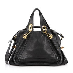 Chloe Paraty Top Handle Bag Leather Medium Black 2246503