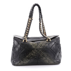 Roberto Cavalli Regina Shoulder Bag Python Medium Black 2246701