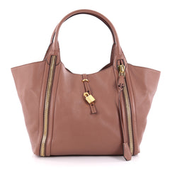 Tom Ford Amber Double Zip Tote Leather Large Brown 2250201