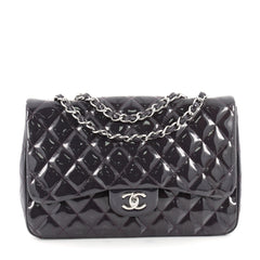 Chanel Classic Single Flap Bag Quilted Patent Jumbo Purple