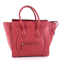 Celine Luggage Handbag Grainy Leather Mini Red 2258301
