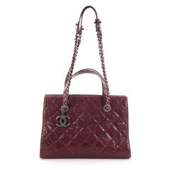 Chanel CC Crave Tote Quilted Glazed Caviar Red 2258501