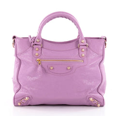 Balenciaga Velo Giant Studs Handbag Leather Purple 2259603
